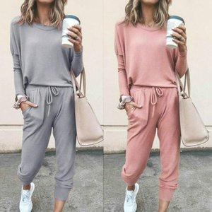 women solid sporting casual two piece set Long sleeve top above pants tracksuit outfit Suit Comfortable Sportswear