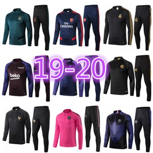 19 20 uomini tuta allenamento di calcio set Real madrid tuta allenamento di calcio 2019 2020 Mbappe Survêtement de foot CHANDAL Football fare jogging