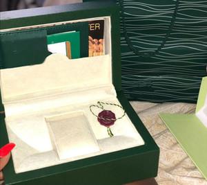 mujeres de la marca verde Caja de reloj originales con las tarjetas y Papeles Certificados bolsos caja para 116610 116660 116710 Relojes