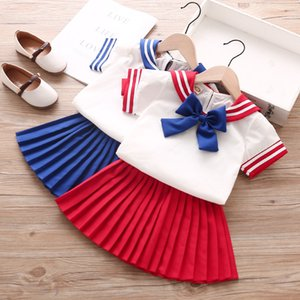 Striped Girls Dresses Navy Style Short Sleeve A-line Skirts Kids Designer Clothes Girls Bows Turn-down Collar Skirt Suit 060529