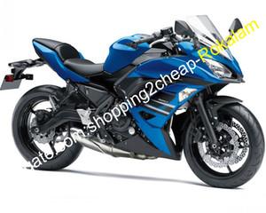 Kit aftermarket moto per Kawasaki 650R ER-6F ER 6F 2017 2018 2019 ER6F 650 17 18 ABS Blue Black Bodywork Fairingwork (stampaggio a iniezione)