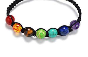7 Chakra 8mm Korn-Stein-Armband Gebet Gleichgewicht Bunte Regenbogen-Healing Reiki Perlen Yoga Energie Chakras Wove Vintage Armbänder Schmuck DHL