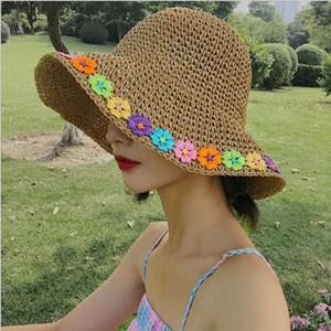Sommer-Hüte für Frauen Bunte Blumen Handmade Straw Hat faltbare Panama-Strand-Hut-Damen Krempe breit Sun Chapeu Feminino