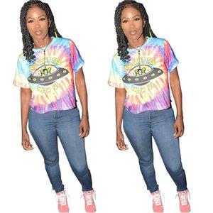 Summer women's fashion leisure trend slim slimming wild cartoon printing pattern short-sleeved round neck T-shirt top