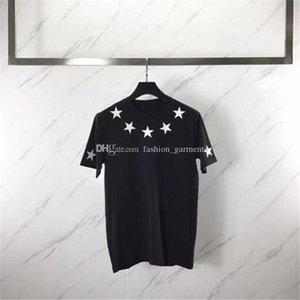 Famous Brand Designer T Shirt Mens Clothing Men Women Short Sleeve Five Pointed Star Flock Printing Tees