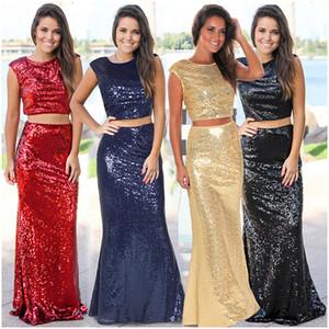 Fairy2019 Xinkuan Xia Spring Europäischen Anzug-Kleid Schwere Fischschwanz Volles Kleid Twinset Paillette Longuette