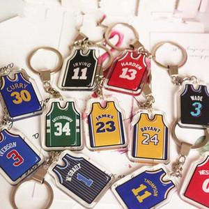 La estrella de baloncesto Jersey Llavero 17 estilos acrílico baloncesto ropa Traje llavero llave del coche de escolar del anillo colgante Decoración