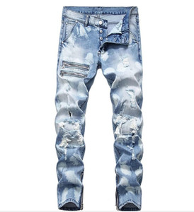 Männer zerrissene dünne Jeans Stretch Distressed Zerstörte Reißverschluss-Denim-Hosen des neuen Entwurfs Male Blue Jeans Demin