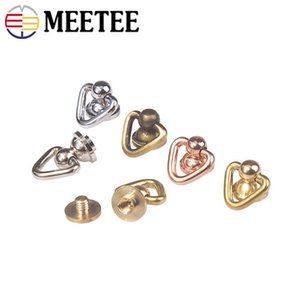 Meetee Brass O Ring Nail Rivet Nipple Buckles Handbag Rotation Pendant Hook DIY Luggage Bag Hardware Accessories