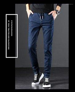 Belt Dark Blue Mens Denim Pants Slim Pocket Retro Casual Jeans Middle Waist Personality Mens Pants Plus Size