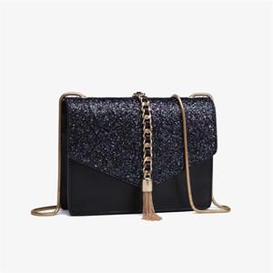 Tassel Chain Flip Single Ladies Shoulder Bag Shining Envelope Style Womens Handbags Clutch Small Square bag Shiny Glitter Star romantic Bags
