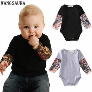WANGSAURA Cool Style Newborn Toddler Kids Baby Boy Bodysuit Clothes Cotton Long Sleeve Tattoos Print Jumpsuit Outfits Black