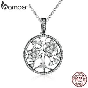 Bamoer Klasik 925 Ayar Gümüş Hayat Ağacı Yuvarlak Kolye Kolye Kadınlar Güzel Takı Için sevgililer Günü Hediye Psn013 J190702