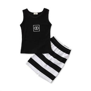 Ins 2020 nouvelles filles d'été costumes vêtements de créateurs pour enfants des filles de la mode des filles gilet de hauts + jupes 2pcs / set de vêtements enfants B93