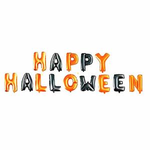 14 unids / set Happy Halloween Balloon Foil Letter Balloon para decoración de fiesta Globos negros y naranjas Suministros para fiestas JK1909