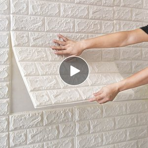 70 * 77cm mousse PE 3D Stickers muraux brique motif autocollants auto étanche sur la salle murale Décoration d'intérieur pour les enfants Chambre Salon autocollant
