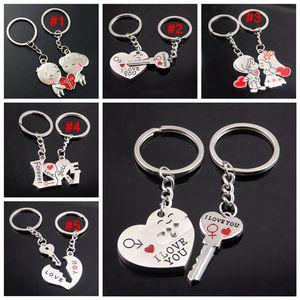 Metal creative lover keychain I LOVE YOU Heart Key Ring Romantic car Valentine's Day gift Couple I Love You key chain LJJA3713