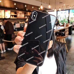 Mode de luxe en verre Lettre Glacé Designer Phone Cases pour iPhone 11 Pro Max X XS MAX XR 6S 6 7 8 Plus Shell Mobile Back Cover A06