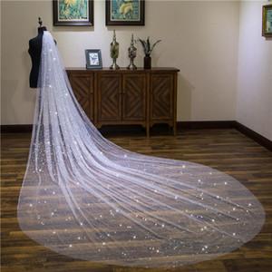 4 metros velo de catedral para vestido de novia Satrs brillantes vestido de novia blanco marfil tul suave tul blanco marfil una capa con peine