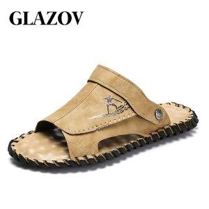 Glazov echtes Leder-Schuhe Herren Pantoffeln Sommer Deodorant Sandalen Casual Men Strandschuhe Mode Flip Flops Sandalen