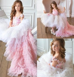 Pink Hi-lo Flower Girls Dresses Sleeveless Appliqued Lace Beaded Tiered Tulle Girls Pageant Dress Ruffle Girls Kids Formal Wear Custom Made
