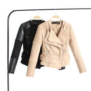 Ecopelle PU delle donne solide Zipper pelle scamosciata Giacche Donna Autunno Inverno Cappotti Giubbotti per la donna Motociclista Giacche Streetwears