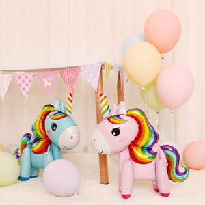Party Decoration 3D Assembly Unicorn Aluminum Film Balloon Standing Color Pony Cartoon Toys Helium Balloon