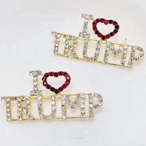 I LOVE TRUMP Spille con strass per le donne Lettere con strass in cristallo Lettere con amore Trump Cappotto con spille Gioielli BH2251 TQQ