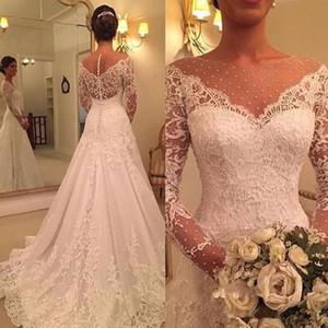 Abiti da sposa a maniche lunghe con bottoni ricoperti 2019 Sheer Jewel Neck Full Lace Applique Princess Church Garden Abiti da sposa informali da sposa