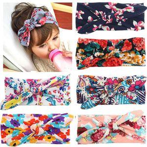7 colors New bow print headband newborn boys girls rabbit ear cotton hair bands fashion hair accessories