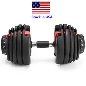 US STOCK, Peso Dumbbell ajustável 5-52.5lbs exercícios de fitness halteres tonificar a sua força e construir seus músculos