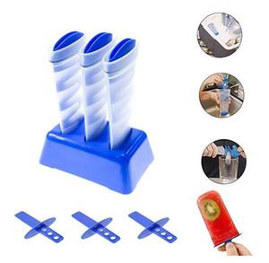 Criativo poderoso Congelar Silicone Ice Maker Saving espaço reutilizável espiral DIY balde de gelo Mold Tubes Ice Pop Maker Portable picolé Moldes