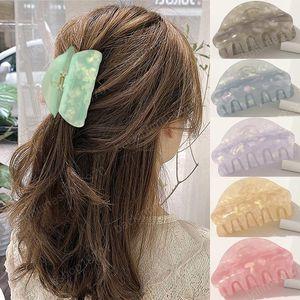 6 Farbe Marble Bunte Mädchen Haarnadeln Crab Claw Clamp Frauen Barrettes Acryl Haarspangen Haar-Accessoires Kopfbedeckung