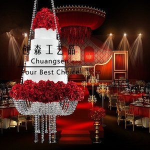 """18"""" Fashion transparent acrylic crystal cake stands cake pan wedding decoration,wedding centerpiece chandelier cake stand free shipping"""