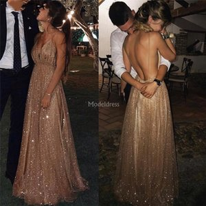 Vestidos de fiesta brillantes de lujo 2019 Spaghetti Backless Sweep Train Vestido para ocasiones especiales Elegante fiesta formal Vestidos de noche Vestidos calientes baratos