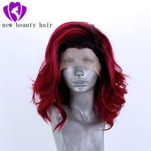 Summerstyle Curto Ondulado Borgonha / vinho tinto Wigs Por branco sintético Mulheres cabelo peruca dianteira do laço resistente ao calor de fibra livre Parte Cosplay