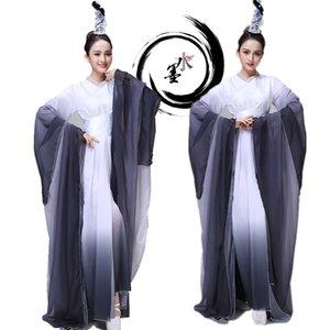 Neue ankunft tinte stil weibliche klassische bühne tragen yangko tanzkleid traditionelle fan dance kleidung altes kostüm chinesischer volkstanz