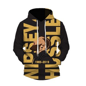 Nipsey Hussle Mens Sweatshirts 3D Digital Printed With Hat Pullover Hot Hip Hop Rapper Fshion Casual Homme Clothing