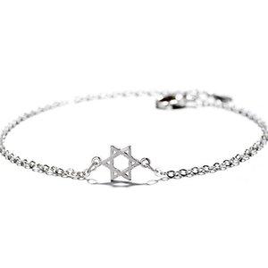 Tshou121 Six étoiles Etoiles Wishing Star Bracelet chanceux brossé Hexagone Ornement d'étoile main J 190430