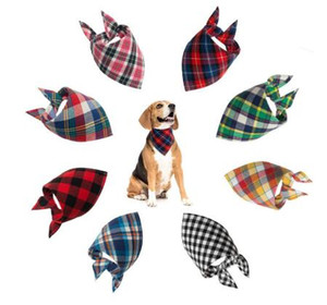 Pet Dog Bandana Pequeno Grande cão babadores Scarf lavável Cozy Cotton Plaid Impressão do filhote de cachorro Kerchief Bow Tie Grooming Pet Acessórios