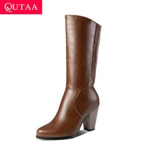 QUTAA 2020 nuovo autunno inverno caldo pelliccia conciso metà polpaccio stivali in pelle PU tacco alto cerniera moda donna stivali taglia 34-43