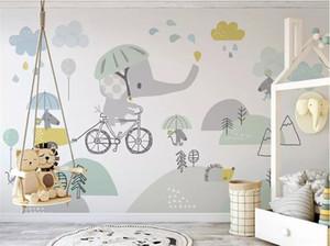 Personalizado lindo bicicleta elefante hamster nube niños fondo papel de pared papel de parede papel peint