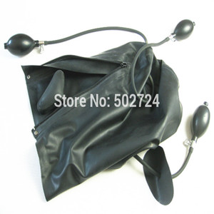 Bdsm Full Latex Sex Zipped Inflatable Bondage Gear Head Hoods Gag With Face Sex Hood Toys Covered Black Mask Mouth Adult Games Y190716 Ejck