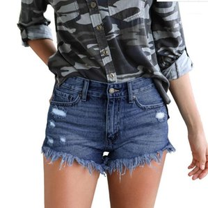 Casual Skinny Hot Shorts Holes Tassel Womens Denim Shorts Designer Solid Color Sexy Ladies Short Trousers