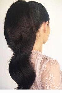 cheveux Remy naturel vague de corps en vrac queue de cheval morceau extensions péruvienne queue de cheval cheveux pour les femmes cordon de serrage ponytails noir 140g
