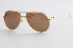 Verkaufsmetall große quadratische Sonnenbrille Brillen-Rahmen-Sommer-Art Sonnenbrille Randlos Pilotenbrille Männliche und weibliche C-Dekoration Gold