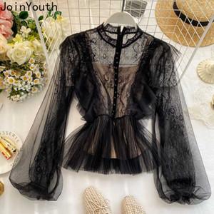 Forme a mujeres Joinyouth encaje blusas manga de soplo 2020 Primavera Blusas Mujer coreana de las colmenas de la moda del 2020 camisas de los nuevos J445