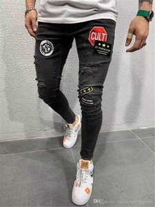 Mens Designer Patches Panelled Jeans Male Stretch Skinny Hole Pencil Pants Fashion Homme Street Style Jeans