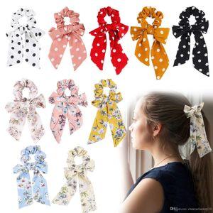 Vintage Girl Flower Hair Haargummi Bow Dot Damen Accessoires Haarbänder Krawatten Haargummis Pferdeschwanz Halter Gummiseil Band Big Long Bow