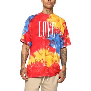 طاقم مصبوغ الرقبة قصيرة الكم Tees Street Style Mens Tshills 20s Mens Designer Tshirt Fashion Tap